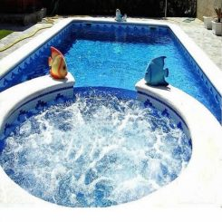 Bể sục xây kết hợp bể bơi
